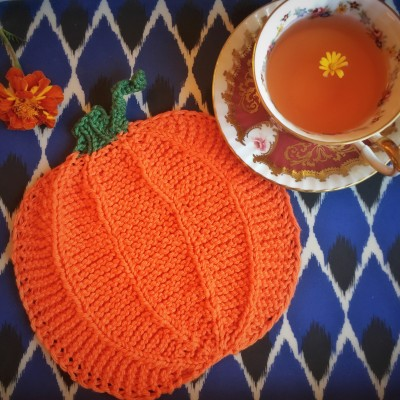 Pumpking Dishcloth knit from Sudz yarn