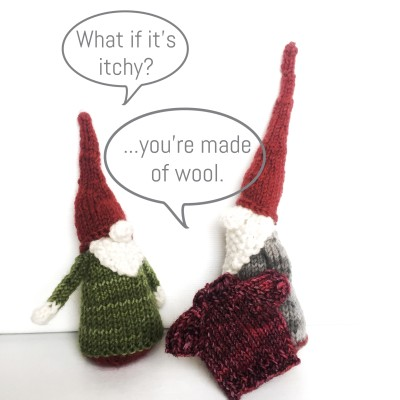 a little Wednesday silliness - 2 of my snow gnomes going sweater shopping