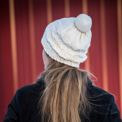 Pomball: Zag hat pattern for knitters from Imagined Landscapes Designs