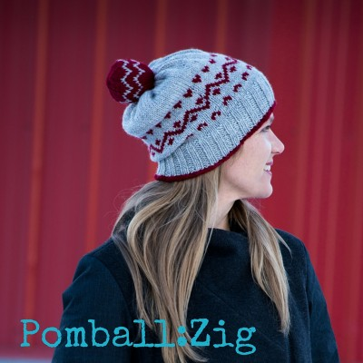 Pomball: Zig - a bold and playful hat pattern for knitters from Imagined Landscapes