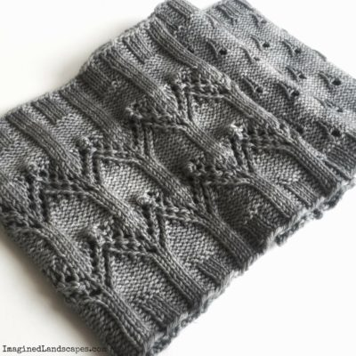 detail of the Rain on Notre Dame Cowl knitting pattern by Imagined Landscapes
