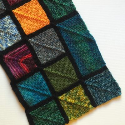 rectangular blanket block on my scrap yarn blanket