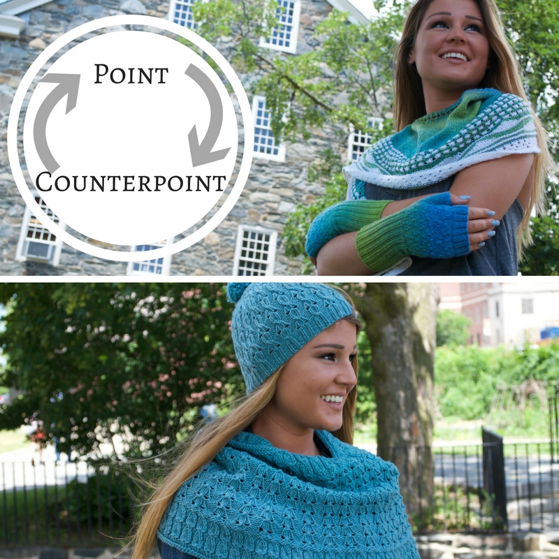 Point Counterpoint volume 1, a knitting pattern collection from Kino Knits and Imagined Landscapes