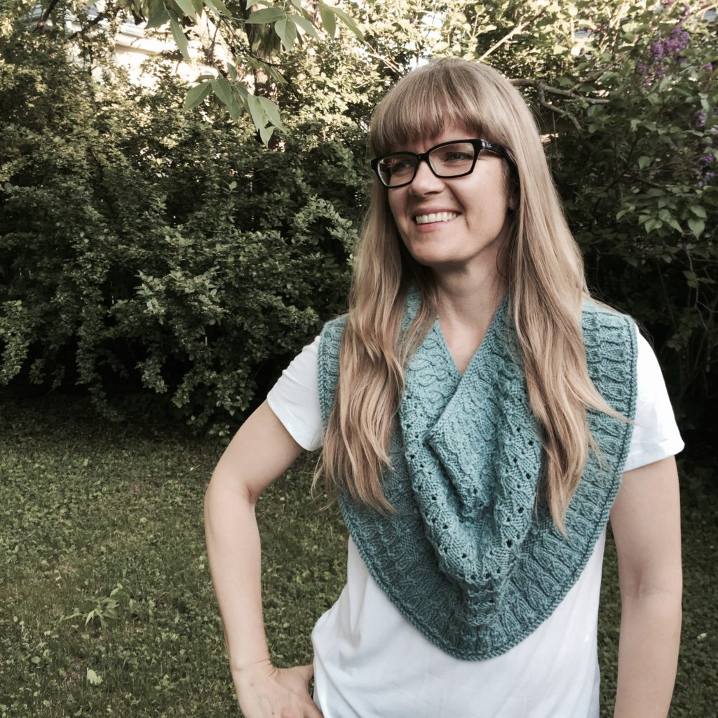 Beach House Breeze Cowl, part of Point Counterpoint vol. 1; yarn is Cascade 220 Sport Superwash