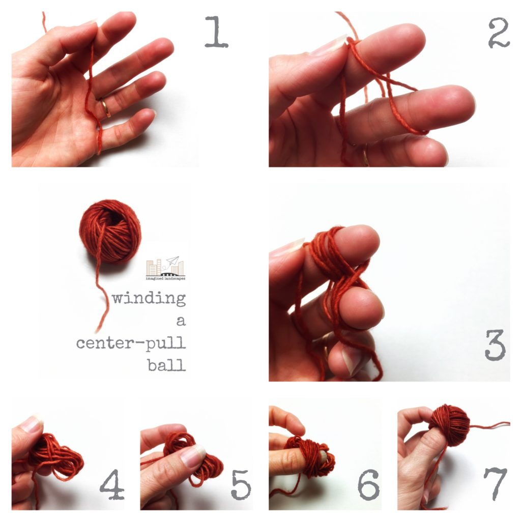 tutorial on how to wind a centre-pull ball of yarn