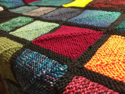 sock yarn scrap blanket