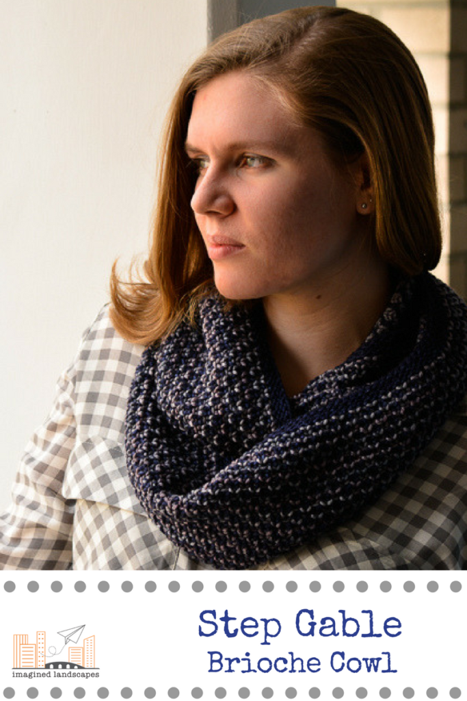 Step Gable Brioche Cowl knitting pattern from Imagined Landscapes Designs - simple and fun two-coloured textured brioche with a photo tutorial