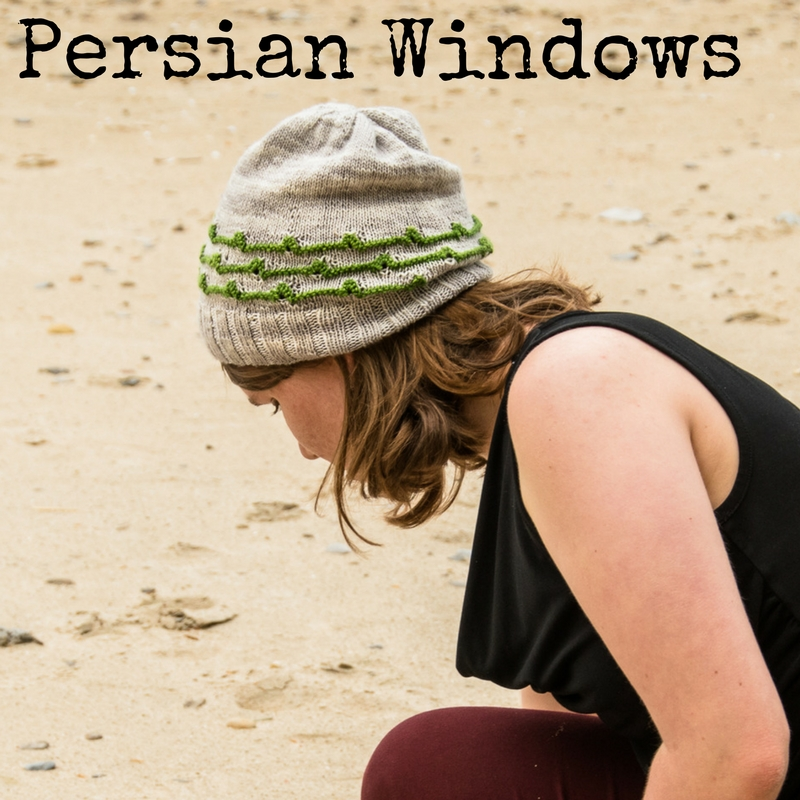 Persian Windows Hat - part of the +1 Pop Collection, a series of knitting patterns that play with mini skeins from Imagined Landscapes Designs