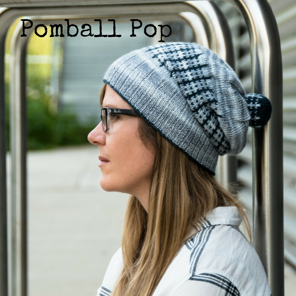 Pomball Pop Hat - fingering weight hat pattern that uses a mini skein and a knitted pompom to make you look fabulous