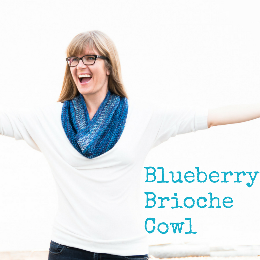 Blueberry Brioche Cowl - an easy, eye-catching knitting pattern from Imagined Landscapes Designs