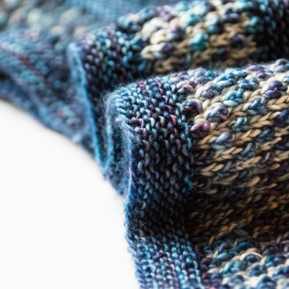 Blueberry Brioche Cowl - an easy, eye-catching pattern from Imagined Landscapes Designs
