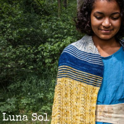 Luna Sol Wrap ~ a lace and garter stripe shawl pattern from Imagined Landscapes Designs. Fingering weight, 3 colours.