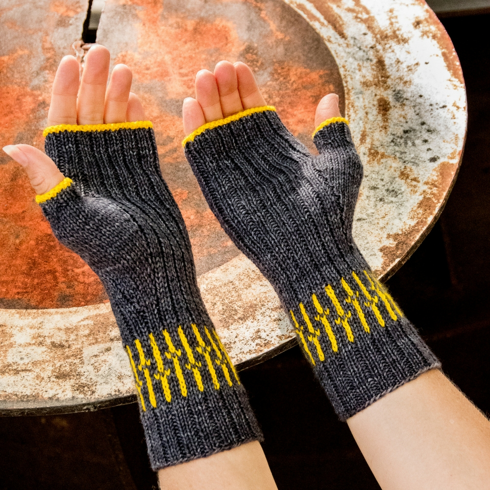 Telephone Poles Fingerless Mitts- a knitting design from Imagined Landscapes in the +1 Pop Collection. Perfect use of a mini skein of yarn!