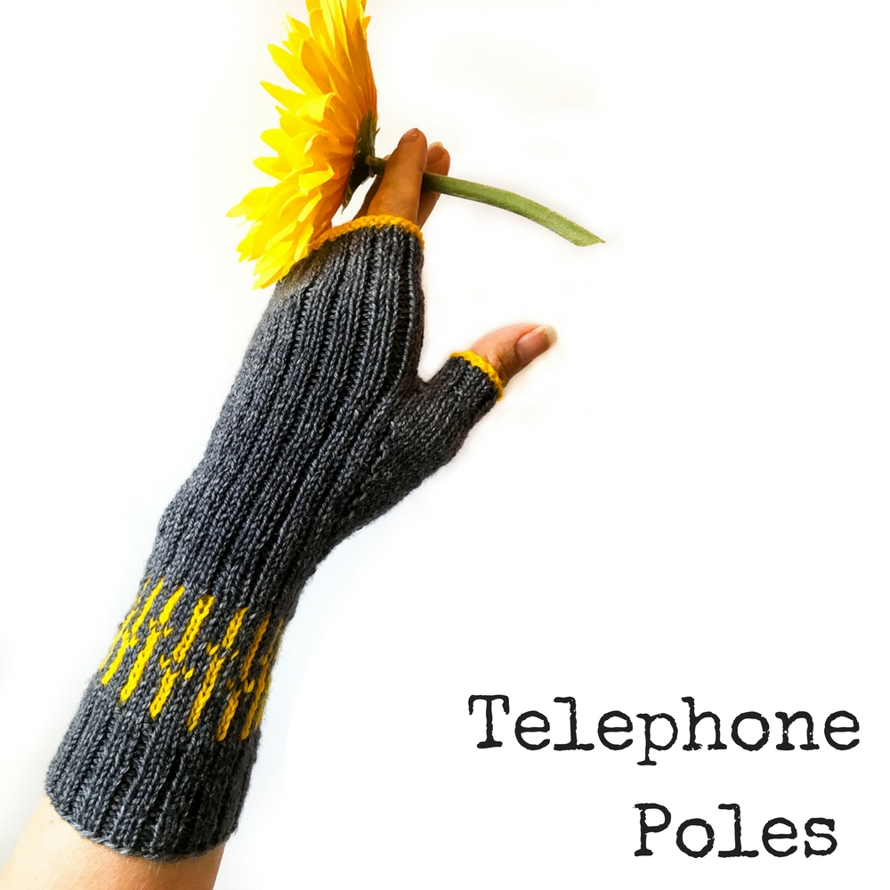 Telephone Poles Fingerless Mitts - a knitting design from Imagined Landscapes in the +1 Pop Collection. Perfect use of a mini skein of yarn!