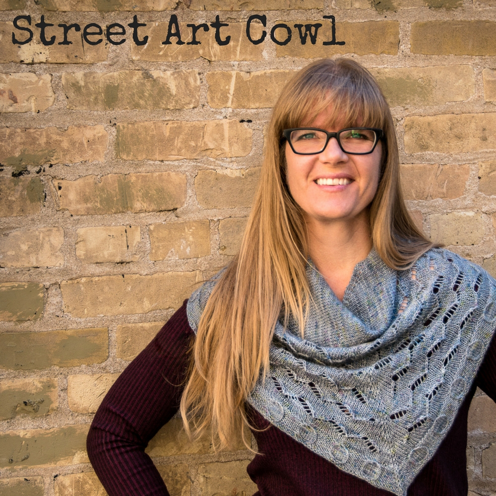Street Art Cowl - a one-skein cowl that looks like a shawl! Imagined Landscapes Designs