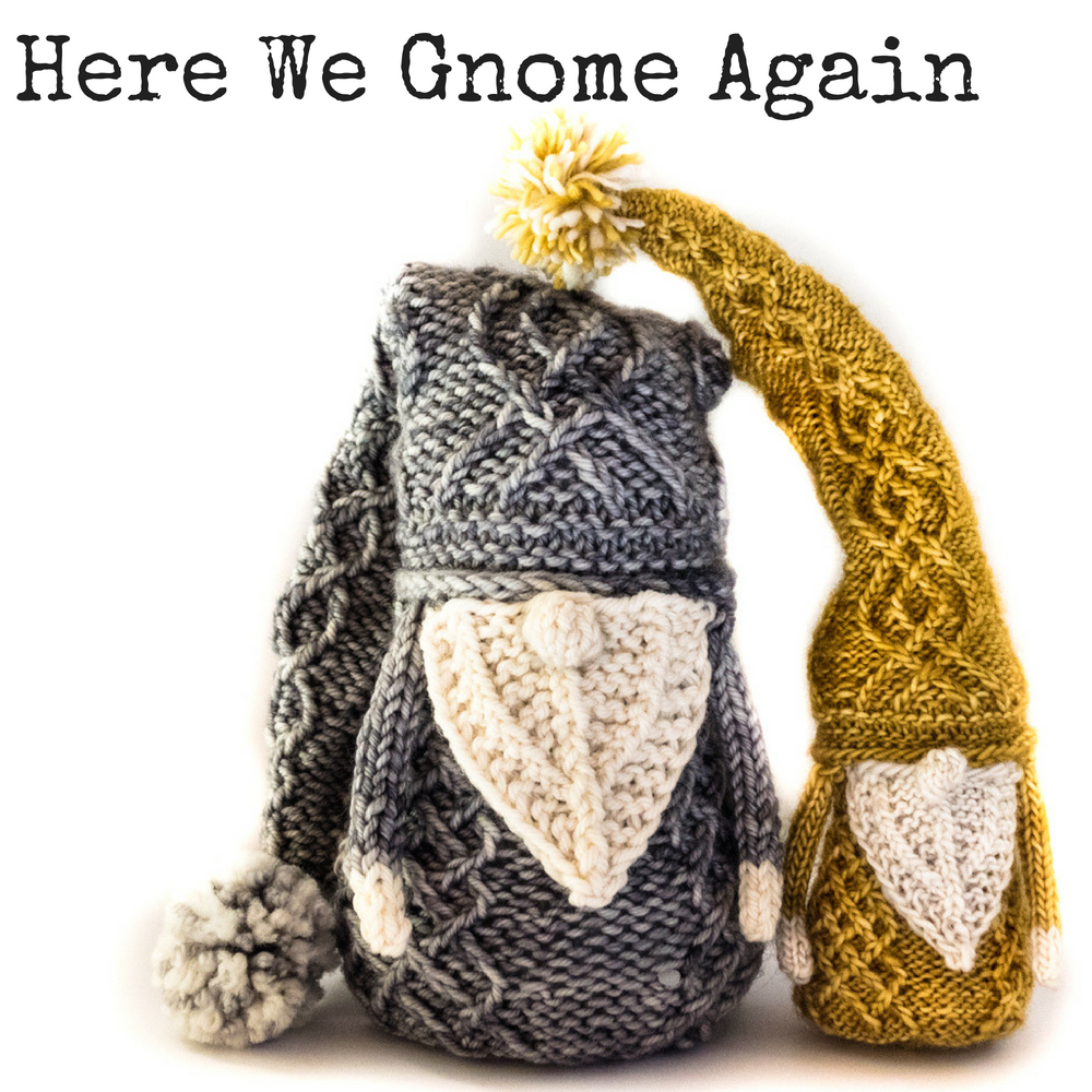Here We Gnome Again - a cabled gnome knitting pattern from Imagined Landscapes Designs