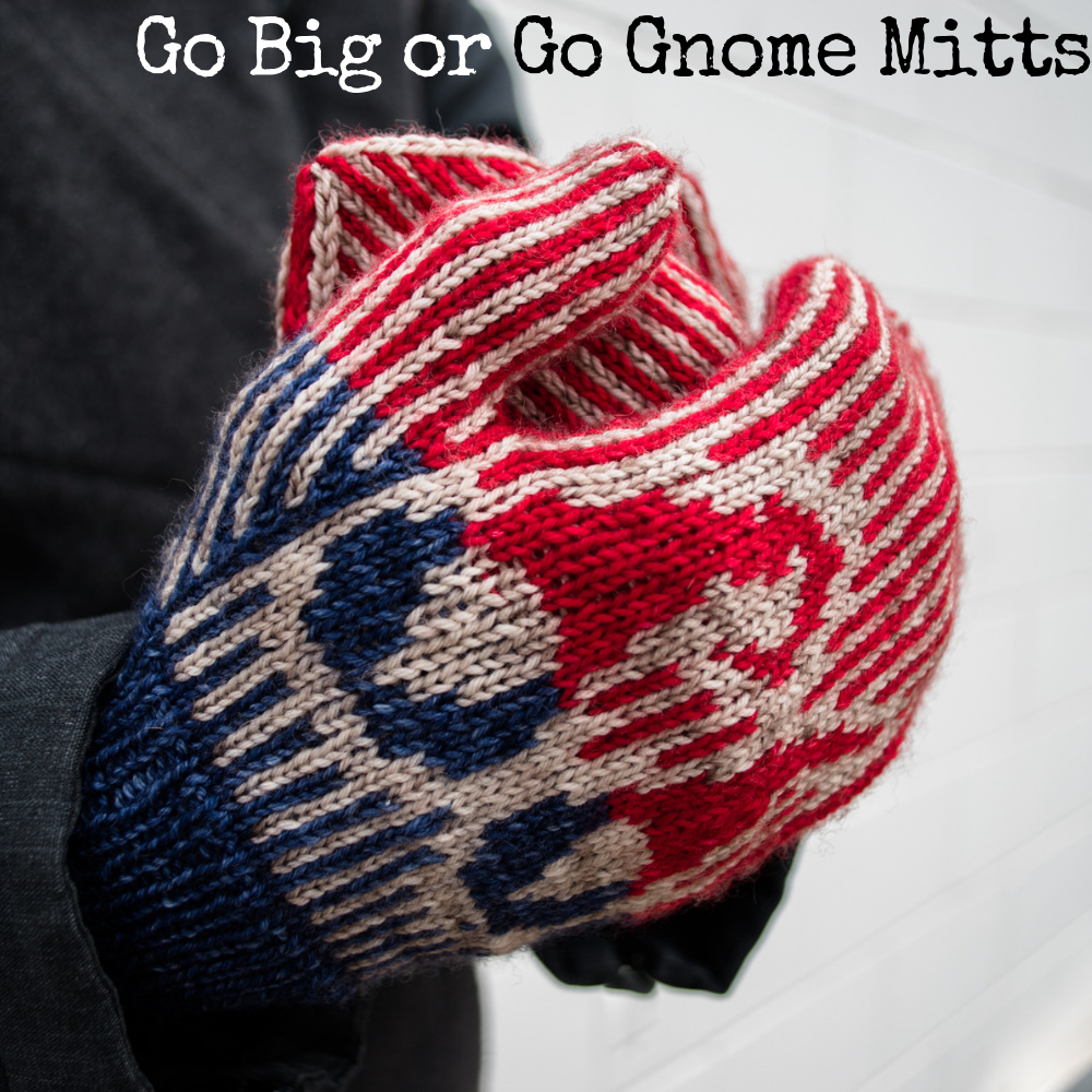 Go Big or Go Gnome Mittens, a knitting pattern from Imagined Landscapes