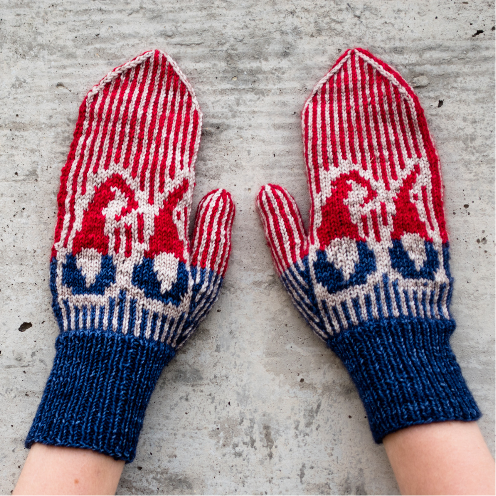 Go Big or Go Gnome Mittens - a free knitting pattern from Imagined Landscapes