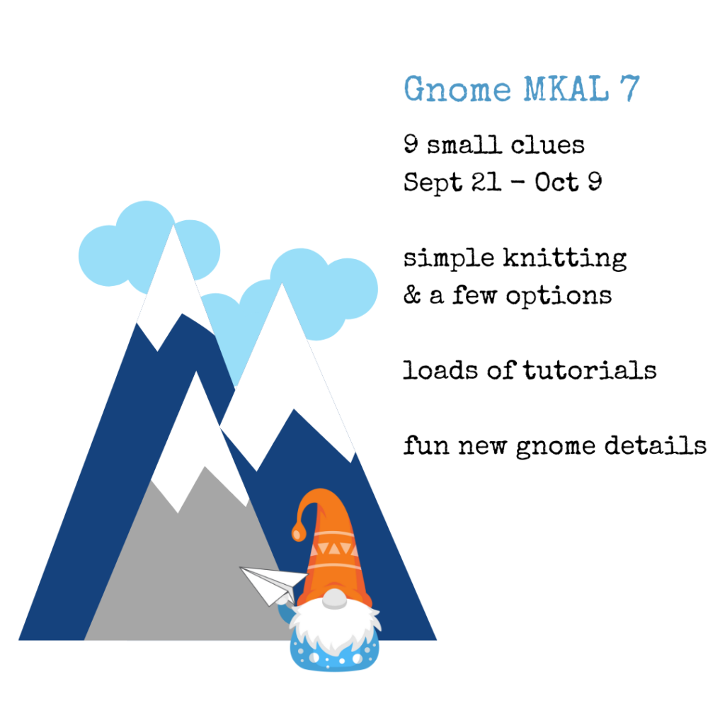 9 small clues, simple knitting, loads of tutorials, fun new gnome details