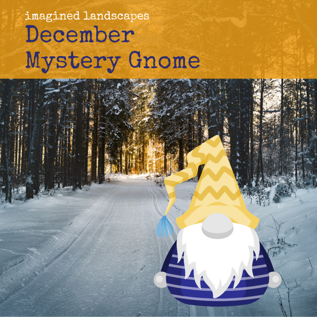 December Mystery Gnome knitting pattern from Imagined Landscapes Designs, featuring a snowy forest path with a blue and yellow gnome