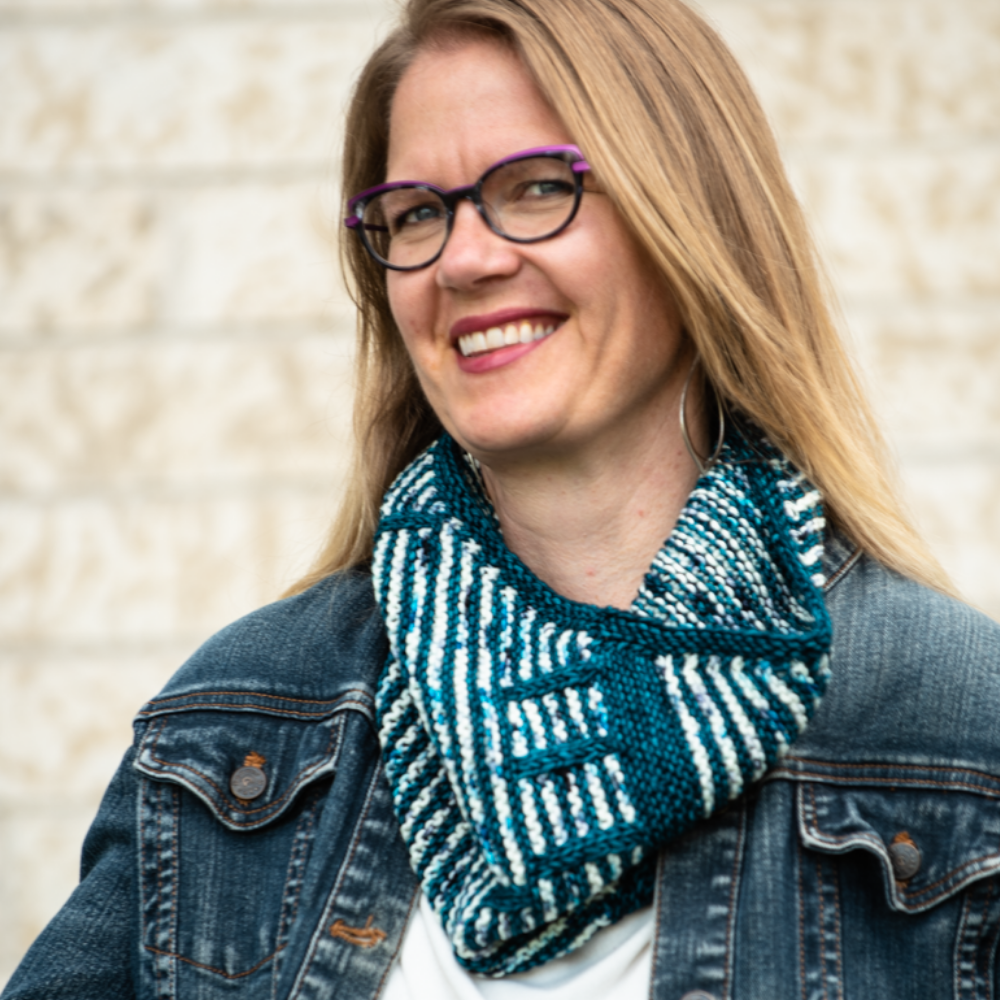 A photo of the Overlap Cowl being worn